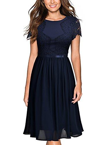Miusol Damen Abendkleid Sommer Chiffon festlich Kleid Cocktailkleid Vinatge kleider Blau - 2