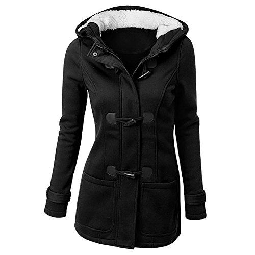 Ibaste felpa con cappuccio donna cappotto invernale con zip oversize e bottoni alamares tipo trenca