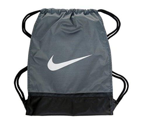 (Nike Brasilia Beuteltasche 8Gymsack Rucksack Kordelzug Tasche Gear Tote Wolf Grau/Schwarz Signature Weiß Swoosh)