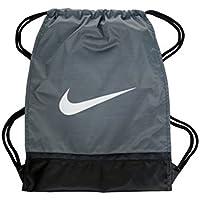 00bc6e27fac2 Nike Brasilia 8 Gymsack Backpack Drawstring Bag Gear Tote Wolf Grey Black  Signature White Swoosh