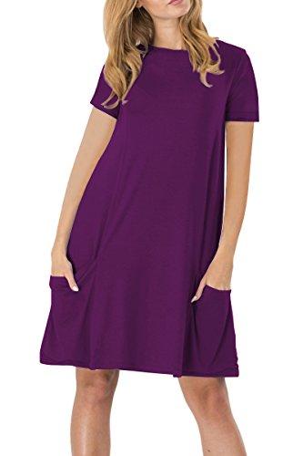 YMING Vestito lungo dalla camicia lunga del vestito da estate della maglia allentata casuale della manica corta delle donne Viola