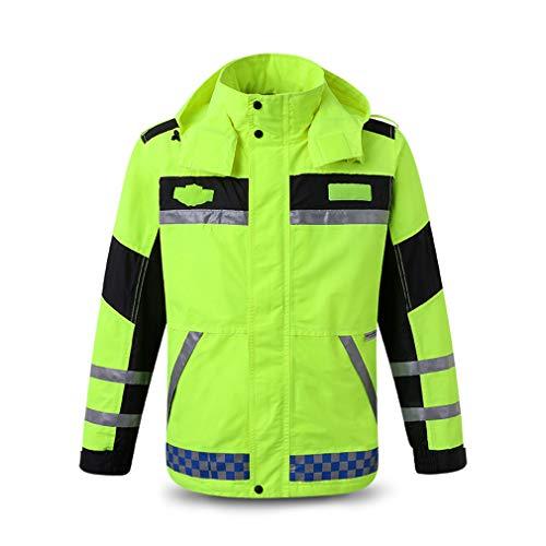 LY-JFSZ Giacche ad Alta visibilità, Cappotti di Sicurezza Soccorso Stradale in Tessuto Oxford Impermeabile per Moto Riflettente Abbigliamento Impermeabile Fluorescente L
