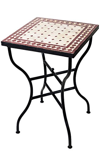 ORIGINAL Marokkanischer Mosaiktisch Bistrotisch 50x50cm Groß eckig klappbar | Eckiger Kleiner Mosaik Gartentisch Mediterran | als Klapptisch für Balkon oder Garten | Marrakesch Natur Bordeaux 50x50cm
