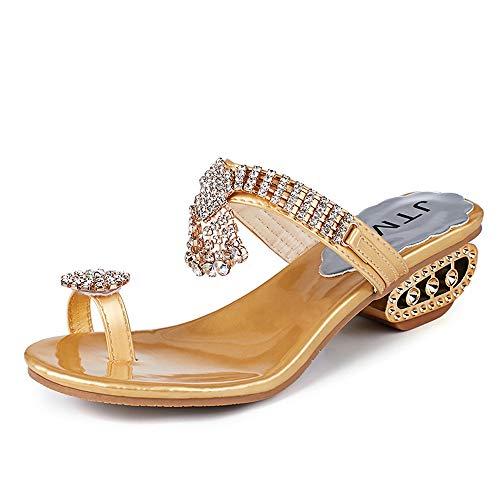 HDUFGJ Damen Hausschuhe Sandalen Clogs Pantoletten Outdoor Hausschuhe Freizeit Sandalen Flip Flop Fashion Strass Wedges Schuhe Kristall High Heels Schuhe40(Gold) -