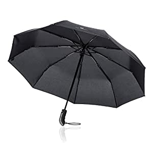 Regenschirm Taschenschirm - VON HEESEN - sturmfest bis 140 km/h - inkl. Schirm-Tasche & Reise-Etui - Auf-Zu-Automatik, klein, leicht & kompakt, Teflon-Beschichtung, windsicher, stabil (Schwarz)