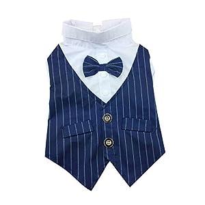 Chemise de Chien de Costume élégant Costume Noeud Papillon Mariage Chemise de Smoking Formelle avec Cravate Noire pour Chiot Pet Petit Chien Bleu S 1set