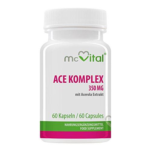 ACE Komplex - 350 mg - mit Acerola Extrakt - Geistige und körperliche Tatkraft - 60 Kapseln - Ace-vitamine