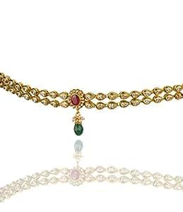 Goldencollections Antique Bridal Traditional Polki Designer Gold Plated Kundan Waist Belt Bamar Bandh Kamar Patta VADDANAM Two Lines