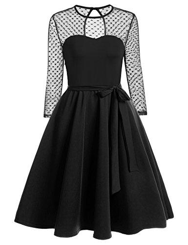 Zeagoo Damen Vintage 50er Jahr Rockabilly Kleid Swing Cocktailkleid Abendkleid Elegantes Kleid...