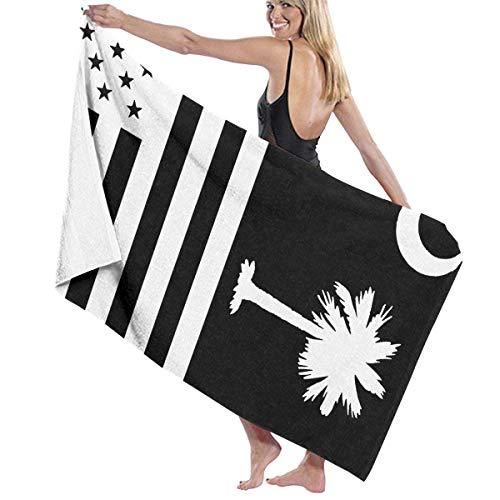 Zhengzho South Carolina State Flag Schwarz Weiß Adult Mikrofaser Badetuch Pool Handtücher 80X130 cm Schnelltrocknend Umweltfreundlich Badetuch für Frauen Männer - South Carolina Pool