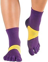 Knitido Marathon TS - Calcetines deportivos de tobillo alto con dedos, Maratón/Correr, fibra dralon®, Size:UK 2.5-5;Colours MTS:purple / yellow