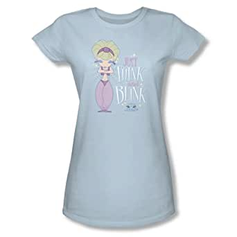 I Dream Of Jeannie - Womens Think & Blink T-Shirt In Light Blue, XX-Large, Light Blue
