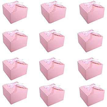 30 x Unicorn Party Wedding Boxes MOOKLIN Diamond Shaped Favour Boxes with Pink Ribbon for Birthday Graduation Wedding Party Christmas Baby Shower L