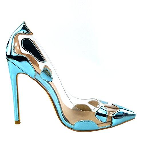 ENMAYER Femme PU Matériel Talons hauts Stiletto Pompes Pointe Toe Slip-on Mariage Été Transparent Chaussures Bleu