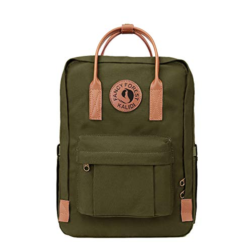 KALIDI Rucksack/Daypack Rucksack Mädchen Jungen & Kinder Damen Herren Schulrucksack mit laptopfach für 15 Zoll Notebook (Olivgrün mit Leder)