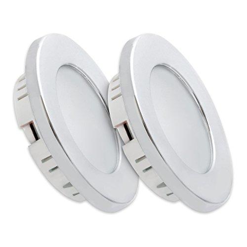 Preisvergleich Produktbild Dream Lighting 3.5W LED Unterleuchte/Einbaustrahler/Einbauleuchten/Einbauleuchte für Wohnwagen/Reisemobil/wohnmobil, warm weiß Beleuchtung Silberschale, 2 Stück in jeder Packung