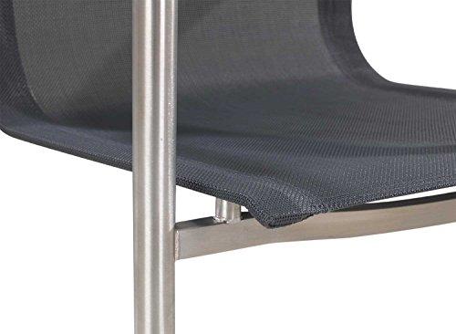Garten-Stuhl Freischwinger ALINE 2   Grau Braun   Edelstahl Kunststoffgeflecht - 7