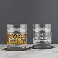 Personalised Moustache Hipster Whisky Tumbler Glass Gift/Christmas Whisky Gift for Him/Personalised Birthday Present for Men/Dad/Grandad/Best Man/Whiskey, Brandy, Cognac