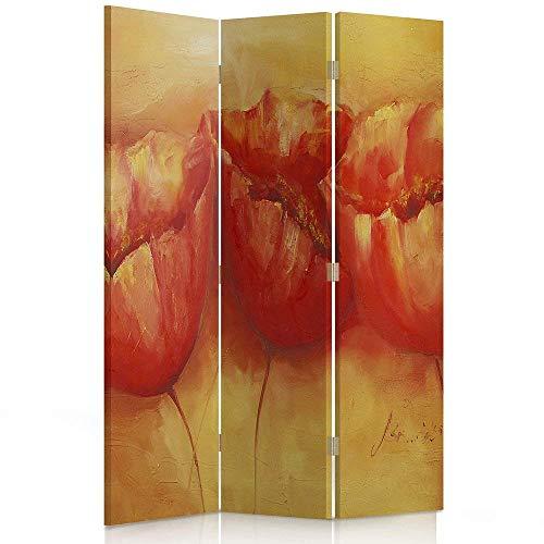 Feeby Frames. Raumteiler, Ggedruckten aufCanvas, Leinwand Wandschirme, dekorative Trennwand, Paravent einseitig, 3 teilig (110x180 cm), Pflanzen, Blumen, MOHN, ORANGE, ROT -