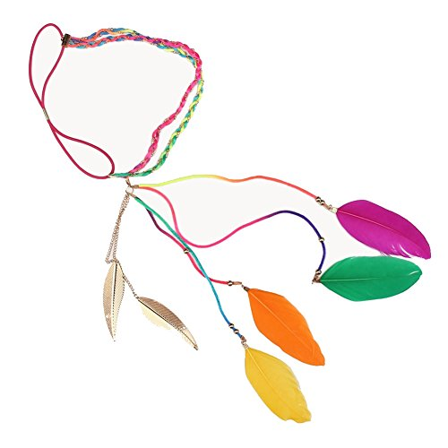 XY Fancy Damen Indian Exotische Boho Urlaub bunten Federn Goldene Blätter Stirnband Korn-Haar-Seil Karneval Festival (Renaissance Tragen)