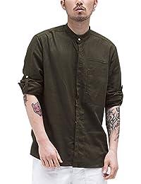 38805df86f5ab Aieoe Camisa Hombres Jovenes Cuello Mao Manga Larga Tops Casual con Botones  Algodón Lino Delgado Transpirable de Moda XL-4XL…