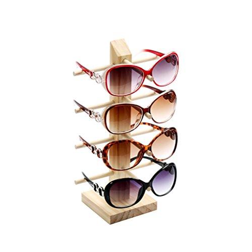 LUOEM Sonnenbrille Display Rack Holz Gläser Display Stand Halter Organizer Vier-Layer