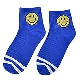 ZZBO Herren Damen Streifen Rohr Socken Cosy Sneaker Socken Smiley Gemusterter Tennissocken Lässig...