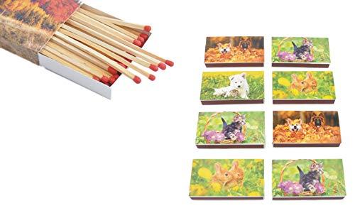 Schnäppchenladen24 XL Streichholzschachteln Tier Motive: 8 x 50er Packungen / 10cm Hund/Katze / Hase Streichhölzer Zündhölzer
