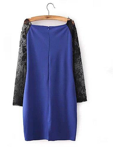 PU&PU Robe Aux femmes Moulante Sexy / Soirée / Travail / Décontracté , Mosaïque Col Arrondi / Asymétrique Mi-long Coton / Dentelle blue-s