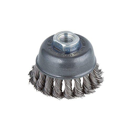 Wolfcraft 2125000 Brosse métallique soucoupe tors pour Meuleuse M14 Diamètre 75 mm