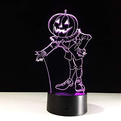 (3D Effekt Kürbis Mann Hologramm 7 Farben Ändern Led Nachtlicht 3D Led Nachtlicht Led Tabelle Halloween Weihnachten Neujahr Lampe Without remote control)