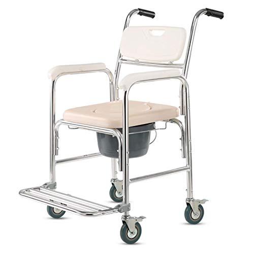Drive Medical-transport-stuhl (OHHG Dusch-Transport-Stuhl, Nachtkommode-Stuhl für Toilette, Aluminium mit Rädern und aufgefülltem Sitz für Handikap und Senioren)