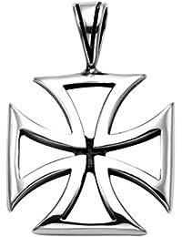 Pendentif Croix de Malte ajouré en acier inoxydable