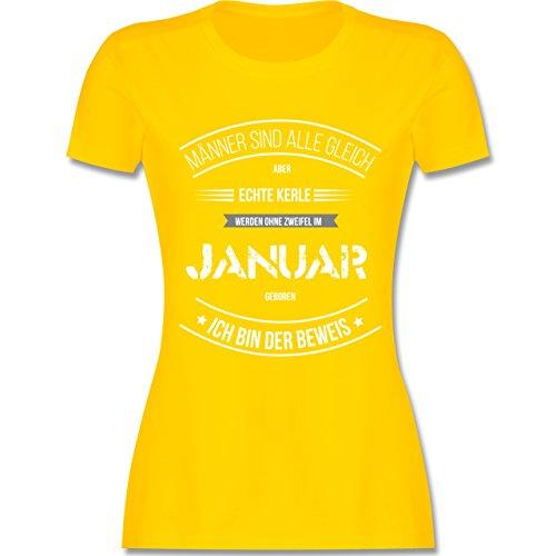 Shirtracer Geburtstag - Echte Kerle Werden IM Januar Geboren - Damen T-Shirt Rundhals Gelb