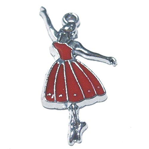 5pezzi 14x 31mm Ballerina in Lega di zinco, colore: rosso smaltato e ciondoli a0638