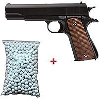 Galaxy Pack Cadeau Airsoft Pistolet M1911 Métal Noir 0.5 Joule 6mm à Ressort 600 billes offert ! - G13