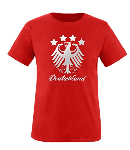 Luckja EM 2016 Deutschland Adler Fanshirt Silver Edition M 01 Herren Rundhals T-Shirt Rot/Silber