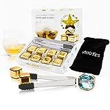 VinoYes Premium Whisky Steine in Gold (EINZIGARTIG) – 8 Wiederverwendbare Kühlsteine als Geschenk-Set in Edler Verpackung. Mit Zange, Beutel und Anleitung. Edelstahl