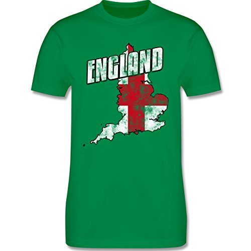 EM 2016 - Frankreich - England Umriss Vintage - Herren Premium T-Shirt Grün