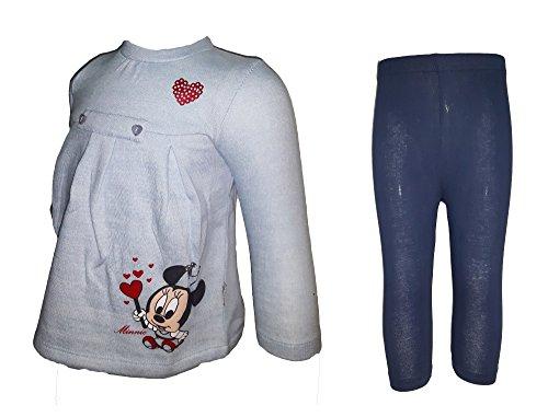 Disney maxi maglia manica lunga + leggings neonata cotone felpato minnie art. wd100558 (6-9 mesi, rugiada)