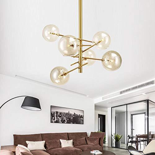 Europa moderne kreative Glaspendelleuchte magische Bohnen Glass Bubbles Study Wohnzimmer Restaurant Cafe Dekoration Lampe, 6 Köpfe Pendelleuchte, Klarglas (Klarglas 3 Pendelleuchte)
