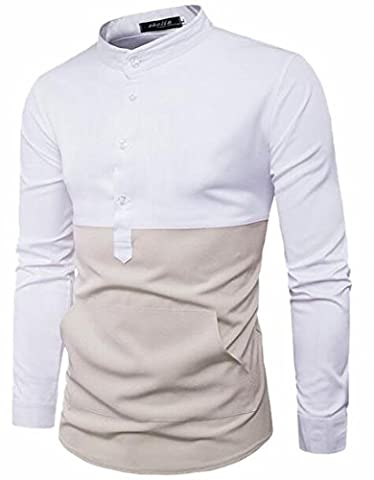 today-UK Men's Contrast Color Casual Button Down Shirt Long Sleeve
