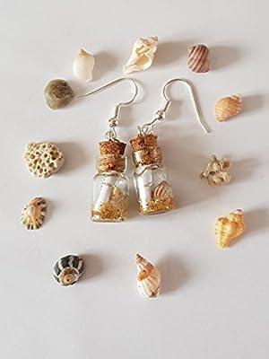 """boucles d oreille""""bouteille a la mer"""" fiole de coquillage et message marin"""