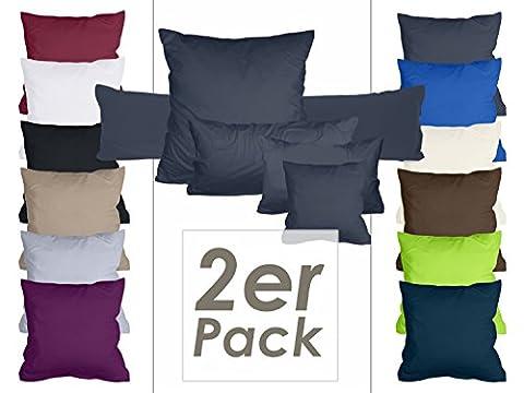 Doppelpack Kissenbezüge aus sanforisiertem Baumwoll-Jersey zum Sparpreis - in dezentem Design - 10 dekorativen Farben und 5 Größen, 40 x 60 cm, anthrazit