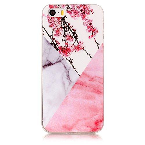 Cozy Hut Für iPhone SE 5S 5 (4 Zoll) Handyhülle mit Marmor / Marble Design(Rosa / Weiß) | Handytasche | | Schale | | Hülle | | Case | Handy-etui | TPU-Bumper | Soft Case | Schutzhülle Cover für den optimalen Schutz ihres iPhone SE 5S 5 (4 Zoll) - Rosa weißer Pflaumenblütenmarmor (Günstige Iphone 4 Fälle Für Jungs)