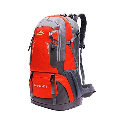 Zaini da Escursionismo Leggeri - Landove Zaino Impermeabile Trekking Grande Militare Tattico Molle Campeggio Outdoor Assalto Borsa Sportiva Alpinismo 60L arancione