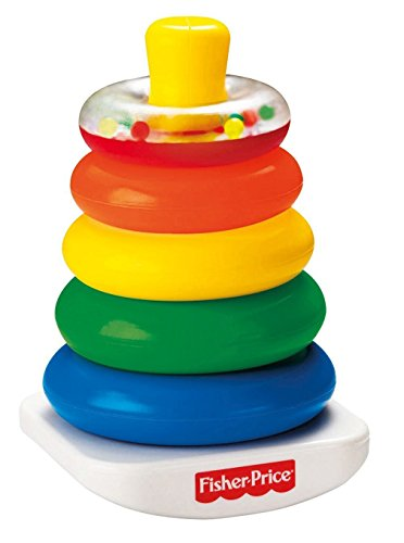 Image of Fisher-Price Baby Toy - Brilliant Basics Rock-a-Stack - Teaches Size and Sequence - Rattle Beads