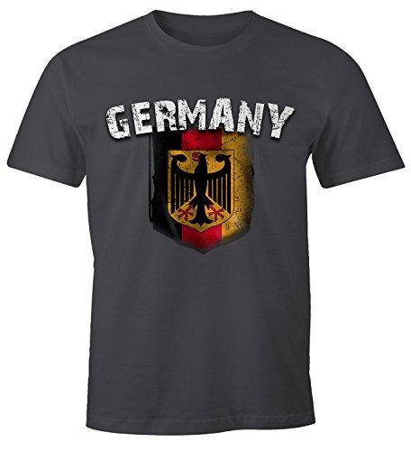 Cooles Herren Fußball WM 2018 T-Shirt Deutschland Flaggen Design Vintage Look Dunkelgrau M