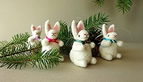 Animal Christmas Tree Ornaments, Rustic Holiday Decorations, Miniature Soft Sculpture Bunny Rabbits, Needle Felted Animals Holiday Ornaments, Animal Miniatures Made In