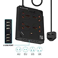 Extension Lead Universal Outlets with 6 USB Ports 4 Way Power Strip Surge Protector Heavy Duty 2500W 1.5 Meter Iphone Charger Powerline Adapter Switch Portable Charger USB Plug Hub Socket (Black)